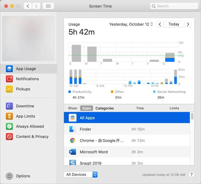 Экранное время в macOS Catalina