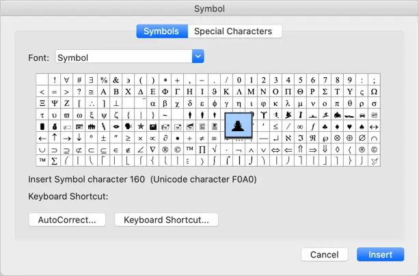 Вставка символов в Mac Word Office 365