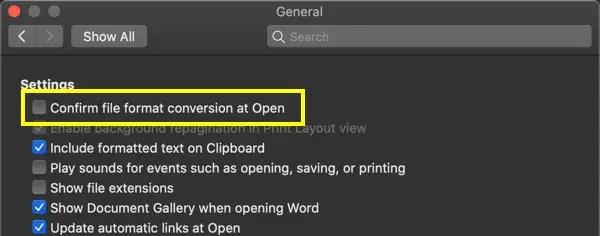 Включить проверку формата файла в Mac Word