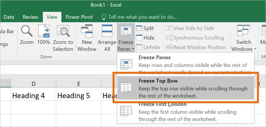 Закрепить верхние строки в Excel