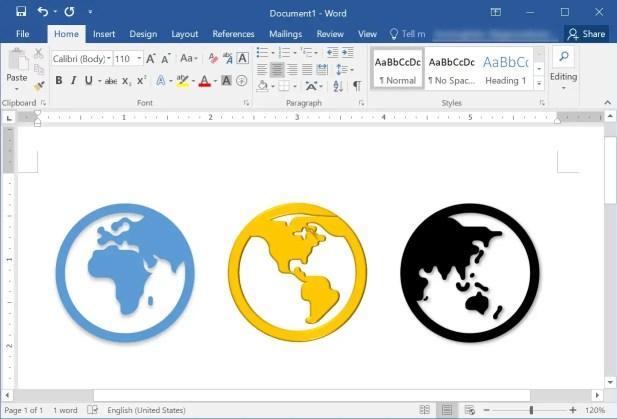 Глобус Emoji в Windows Word