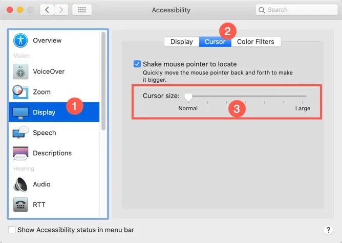 Изменить размер указателя мыши на Mac