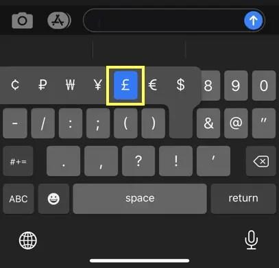 Вставить знак фунта в iPhone