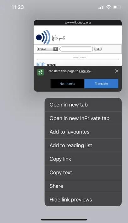 Предварительный просмотр ссылки в Edge с переводом Bing