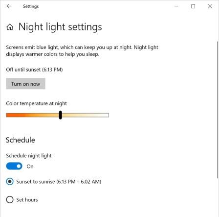 Настройки Night Light в Windows 10