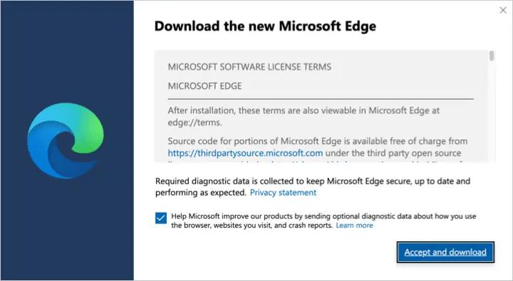 Принять и загрузить Edge на Mac