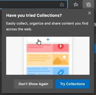 Коллекции в браузере Edge