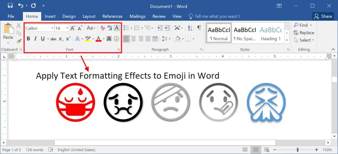 Применение текстовых эффектов к эмодзи в Word