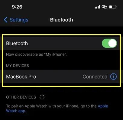 Подключите Bluetooth в iPhone