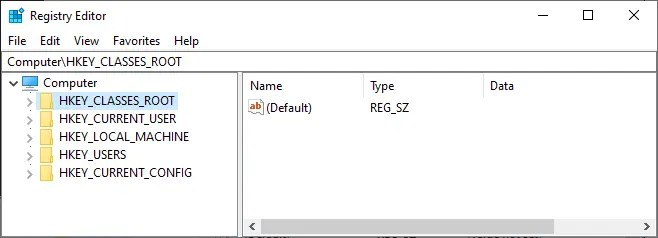 Корневые ключи редактора реестра Windows