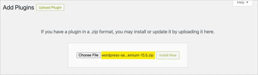 Загрузите ZIP-файл Yoast Premium