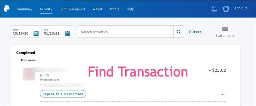 Найти транзакцию для возврата