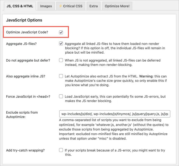 Оптимизировать JavaScript в Autoptimize