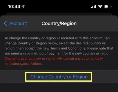 Изменить страну с iPhone