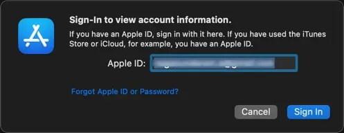 Войдите в учетную запись Apple