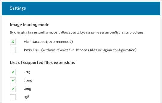 Режим загрузки изображений и расширения файлов