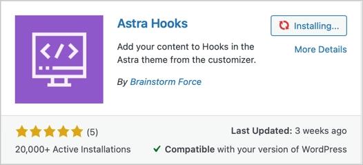 Плагин Astra Hooks