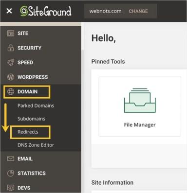 Перенаправления домена в SiteGround