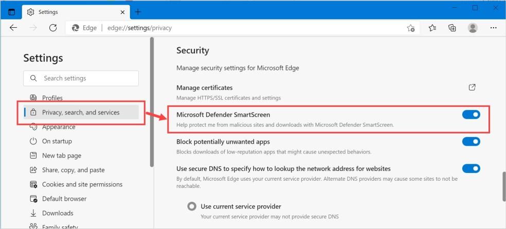 Включение или отключение SmartScreen в Защитнике Microsoft