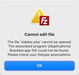Ошибка ассоциации файлов в FileZilla