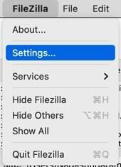 Настройки FileZilla