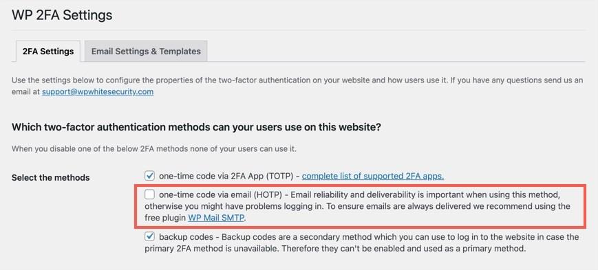 Настройки WP 2FA для выбора варианта электронной почты