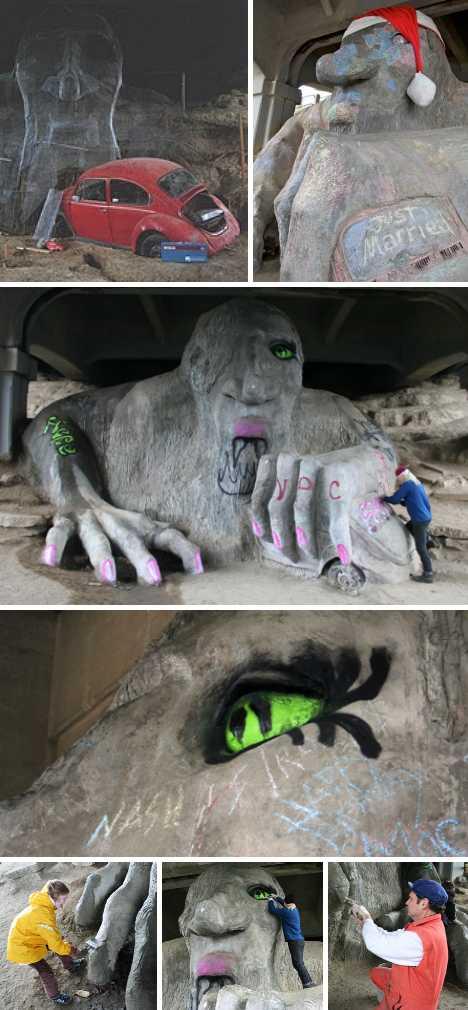 Fremont Troll graffiti vandalism