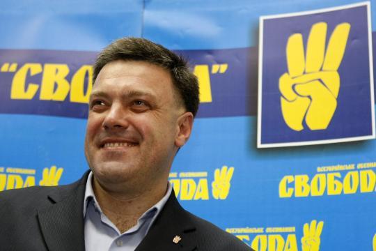 Ohne ihn wäre der Janukowitsch-Sturz undenkbar gewesen: Oleg Tjagnibok, Kopf der Swoboda-Partei. Doch welche Werte vertritt die Partei eigentlich, die nun an der Übergangsregierung beteiligt ist