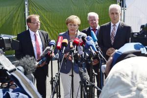 Bundeskanzlerin Angela Merkel (CDU) bei ihrem Besuch in Heidenau