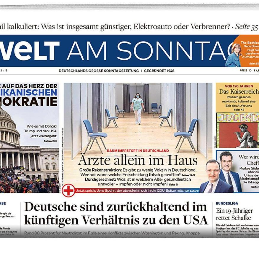 Welt am Sonntag E-day January 10, 2021 packshot half page