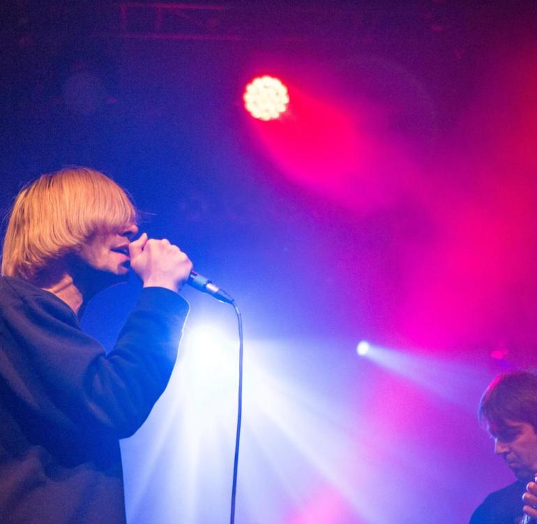 BERLIN, GERMANY - FEBRUARY 20: Singer Tim Burgess of The Charlatans perform live on stage during a concert at the Columbia Theater on February 20, 2018 in Berlin, Germany. (Photo by Jana Legler/Redferns)