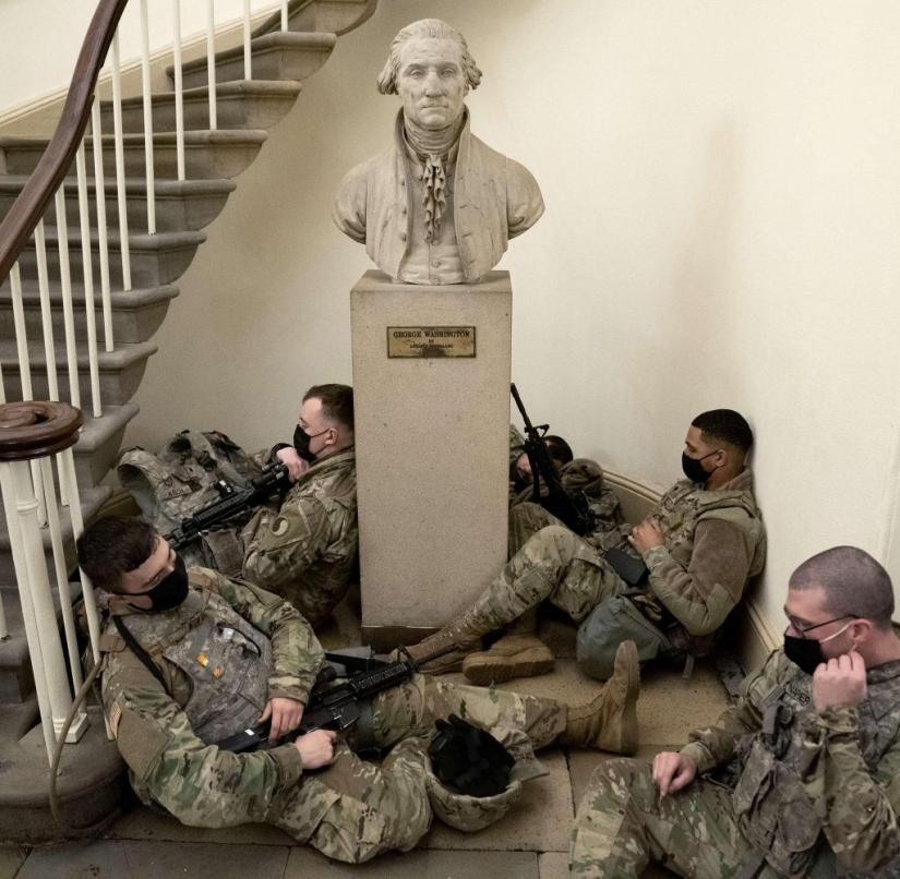 From a frontal perspective.  National guards around Washington bust
