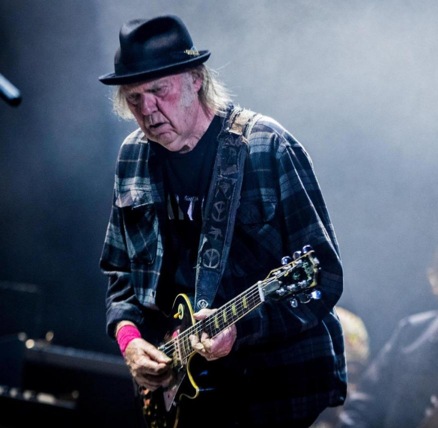 Canadian singer-songwriter and rock musician Neil Young performs at Ziggo Dome,Amsterdam, Netherlands, 10th July 2019. Right guitarist Micah Nelson, son of Willie Nelson.(Photo by Paul Bergen/Redferns)
