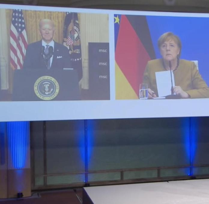 United at least on screen (from left): Joe Biden, Angela Merkel and Emmanuel Macron.  In front of the conference leader Wolfgang Ischinger