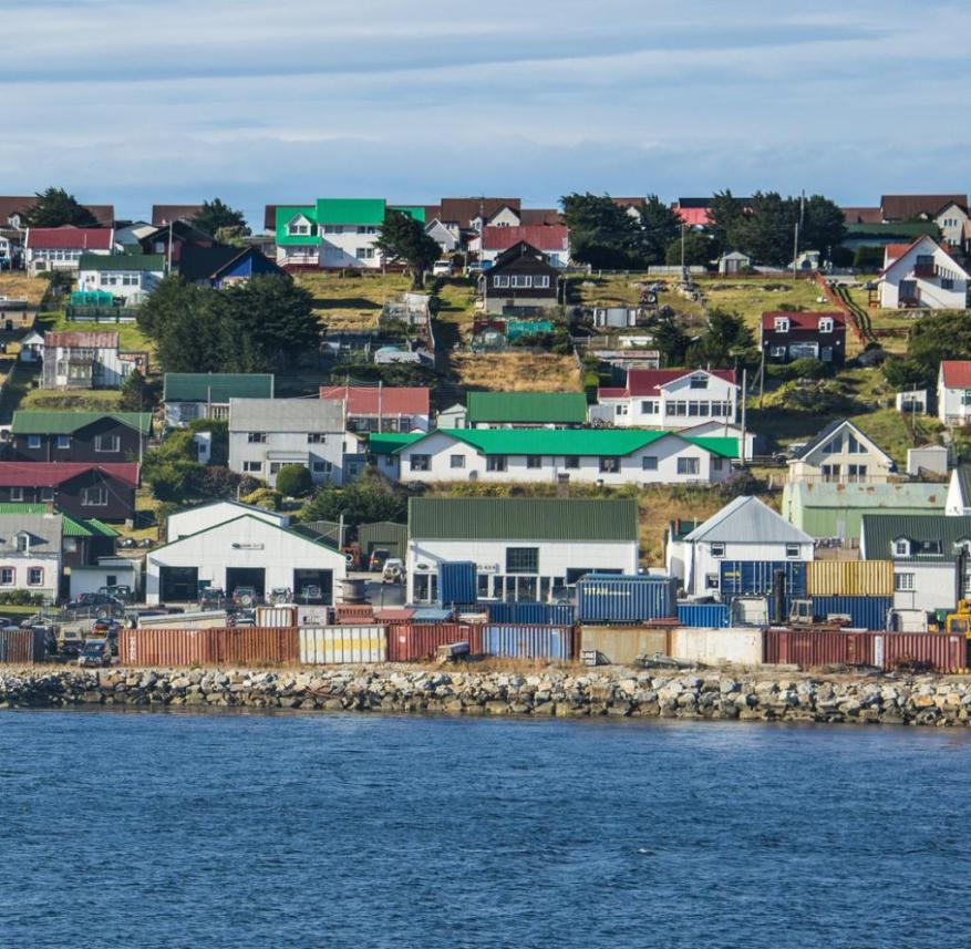 Stanley is the only town in the Falkland Islands.  It is located on East Falkland