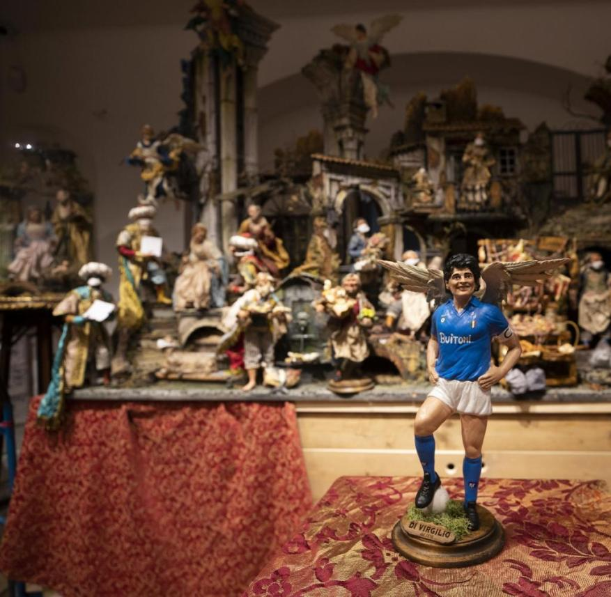 In Naples, Diego Armando Maradona is almost religiously worshiped.  It's only logical that he is also available as a crib figure