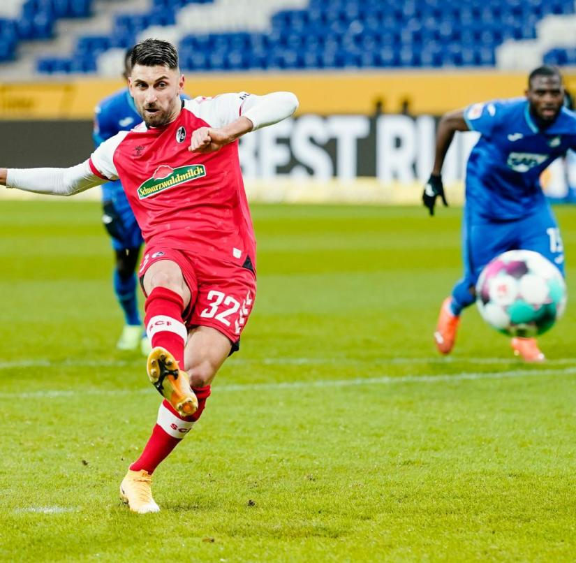 Freiburg's Vincenzo Grifo converts his seventh penalty in a row