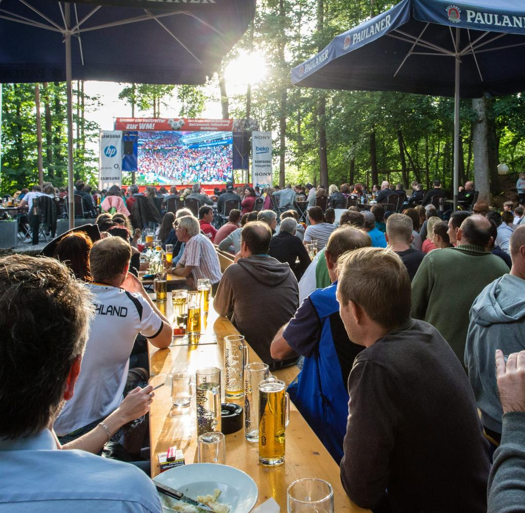 Public viewing in a beer garden in the forest