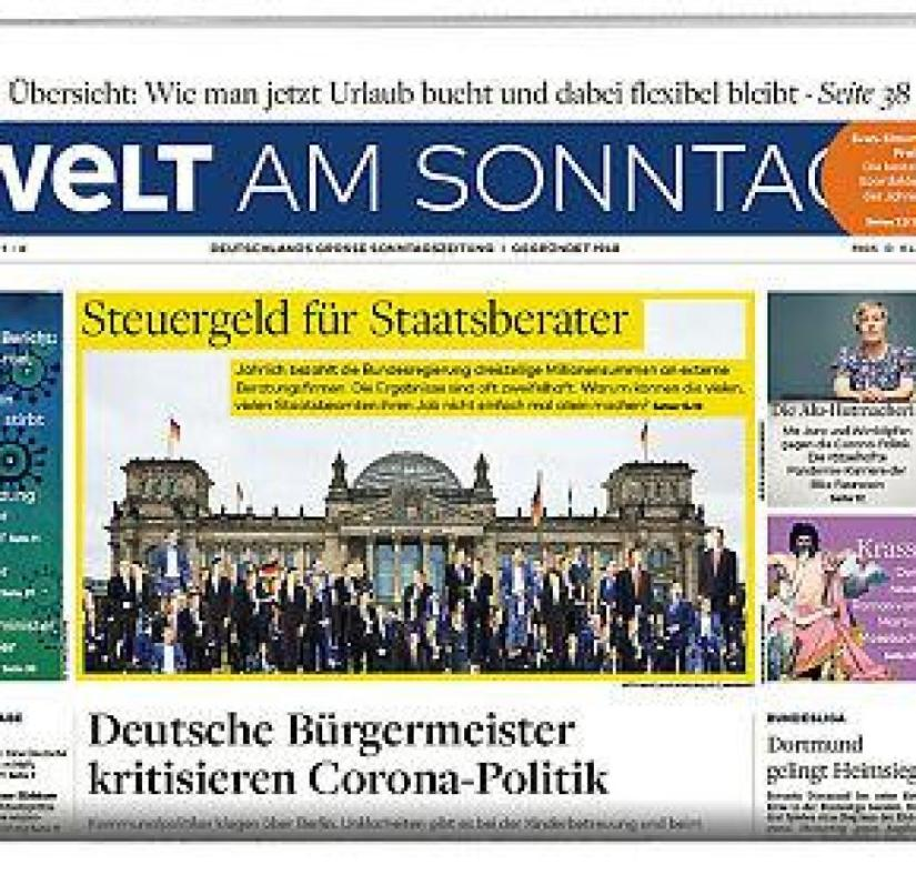 Welt am Sonntag WAMS E-day January 31, 2021 packshot half page