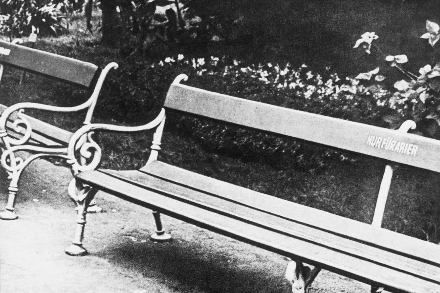 Aryans only German park bench
