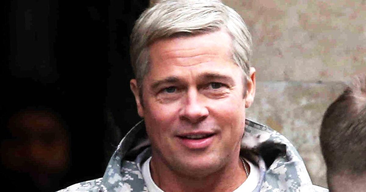 Brad Pitt Rocks Silver Hair On War Machine Set Photos