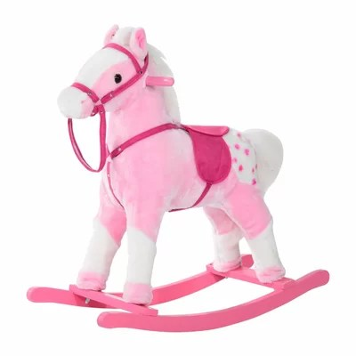 Pink Plush Rocking Horse Pony with Realistic Sound