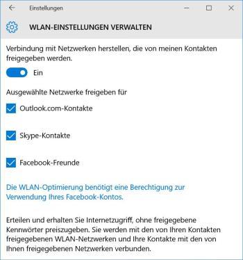 WLAN Freigabe für Facebook-Kontakte