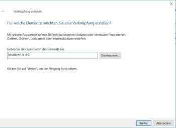 Windows 10 herunterfahren mit Verknüpfung