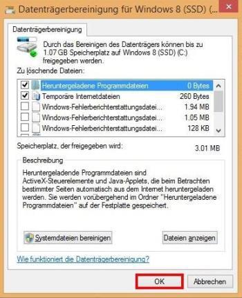 Unnötige Dateien löschen