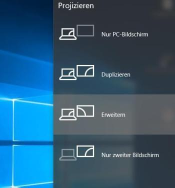 Windows 10: Desktop erweitern