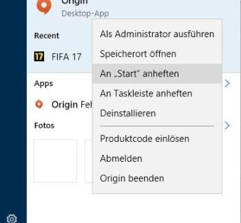 In Windows 10 Programme an das Startmenü anheften