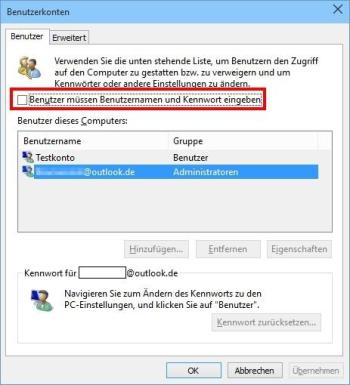 Windows 10: Start ohne Login