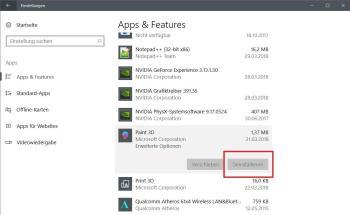 Apps und optionale Features deinstallieren und entfernen