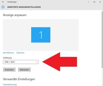 Ändern der Auflösung unter Windows 10